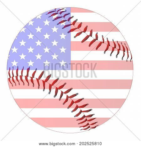 A new white baseball with red stitching with Stars and Stripes flag overlay isolated on white