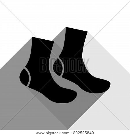 Socks sign. Vector. Black icon with two flat gray shadows on white background.