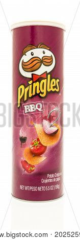 Winneconne WI - 1 September 2017: A tube of Pringles in BBQ flavor on an isolated background.