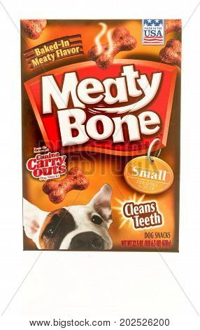 Winneconne WI - 1 September 2017: A box of Meaty Bones dog treats on an isolated background.
