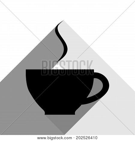 Cup sign with one small stream of smoke. Vector. Black icon with two flat gray shadows on white background.