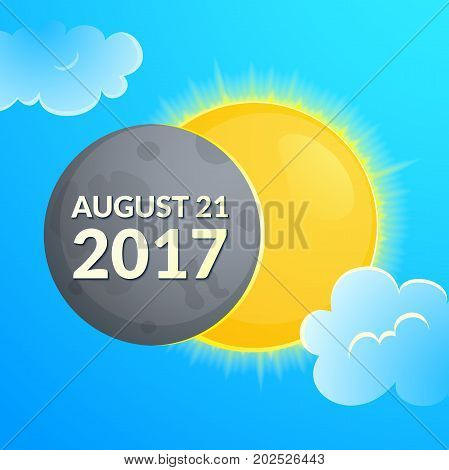 Total solar eclipse in USA of august 21 2017, Sun and Moon in clouds vector illustration