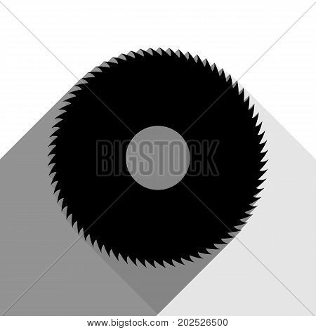 Saw sign. Vector. Black icon with two flat gray shadows on white background.