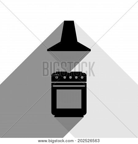 Electric or gas stove and extractor kitchen hood sign. Vector. Black icon with two flat gray shadows on white background.