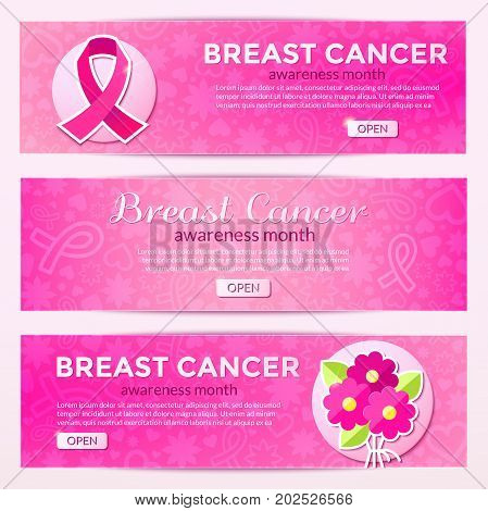 Breast Cancer set of horizontal banners, vector illustration