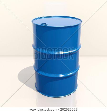 Single Blue Barrel on Light Background