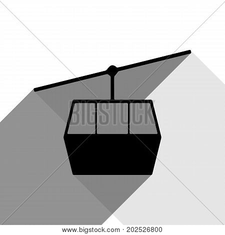 Funicular, Cable car sign. Vector. Black icon with two flat gray shadows on white background.