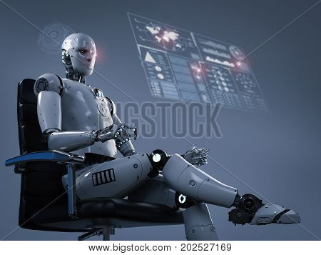 Robot Sit On Office Chair