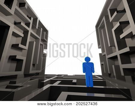 3d rendering confused person on labyrinth background