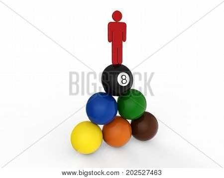 leadership concept with 3d rendering man standing on top of billiard balls