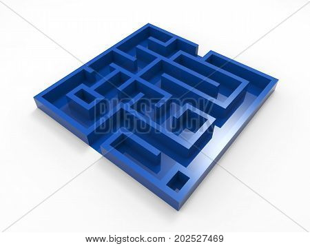 3d rendering blue labyrinth on white background