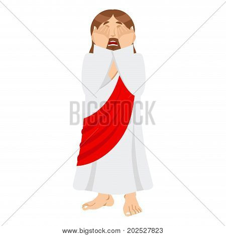 Omg Jesus Is Facepalm. Oh My God Christ Is Disappointed. Disappointment Is Son Of God. Illustration