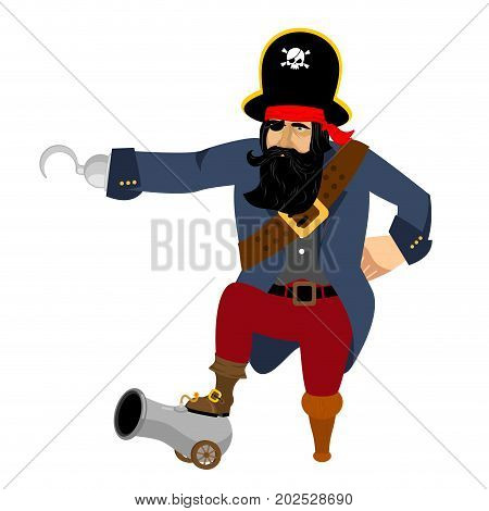 Pirate Hook and cannon. Eye patch and smoking pipe. filibuster cap. Bones and Skull. Head corsair black beard. buccaneer Wooden foot