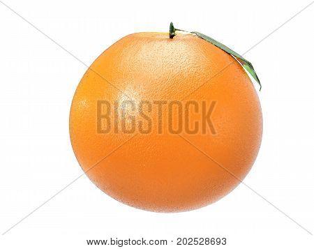 3d rendering shiny tangerine on white background