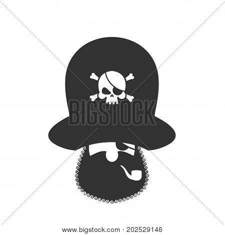 Pirate icon. Eye patch and smoking pipe. filibuster cap. Bones and Skull. Head corsair black beard.