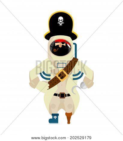 Space Pirate. Filibuster Spaceman. Buccaneer Cosmonaut In Protective Suit. Rover Astronaut In Helmet