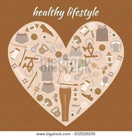 Healthy Lifestyle Background in heart shape. Healthy lifestyle sport fitness concept in flat design.
