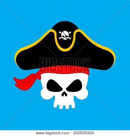 Skull Pirate portrait in hat. Eye patch. filibuster cap. skeleton corsair