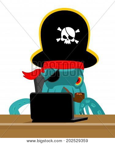 Web Pirate Octopus And Laptop. Poulpe Internet Hacker And Pc. Devilfish Buccaneer And Computer. Eye
