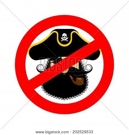 Stop Pirate. Red Prohibiting Sign Rover. Ban Filibuster