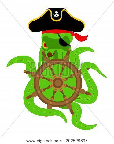 Octopus Pirate And Handwheel. Poulpe Buccaneer And Rudder. Eye Patch And Smoking Pipe. Pirates Cap.