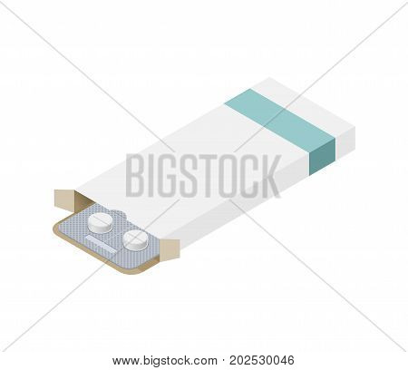 Tablets Paper Box Packaging Mock Up Template Isolated. Blister Is Medical Pill. Medicine Tablet