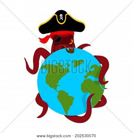 Octopus Pirate And Earth. Poulpe Buccaneer And Planet. Eye Patch And Smoking Pipe. Pirates Cap. Bone