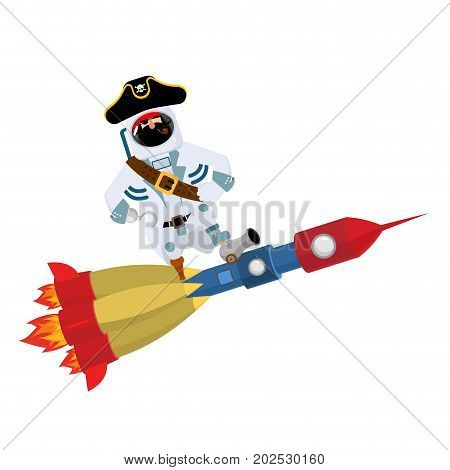 Space Pirate On Rocket. Filibuster Spaceman. Buccaneer Cosmonaut In Protective Suit. Rover Astronaut