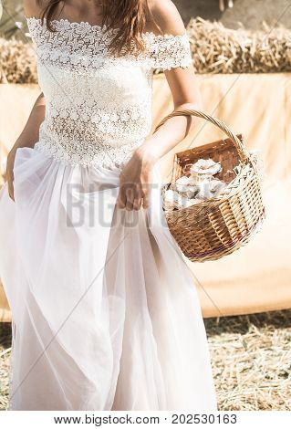 The Bride With A Basket In Hands