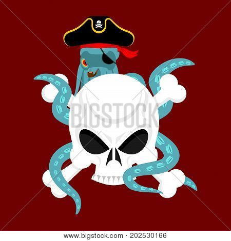 Octopus Pirate And Skull. Poulpe Buccaneer And Skeleton Head. Eye Patch And Smoking Pipe. Pirates Ca