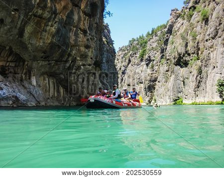 People In Boat During Rafting In Side In 2017