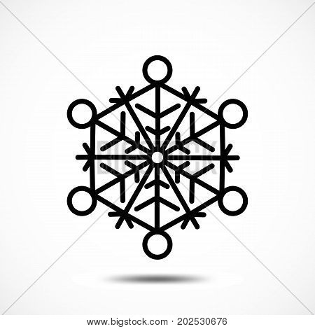 Snowflake Icon Isolated. Black Frozt Symbol on White Background. Icy Snow Element for Winter Design