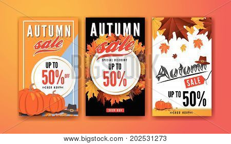 Autumn sale vertical banner background template design for sale promotion web banner or poster. Vector illustration