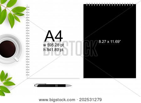 Spiral binding notebook or notepad and pen isolated. Sketchbook or diary ISO 216 B5 standart. Realistic illustration