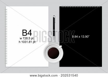 Spiral binding notebook or notepad and pen isolated. Sketchbook or diary ISO 216 B4 standart. Realistic illustration
