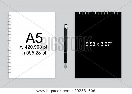 Spiral binding notebook or notepad and pen isolated. Sketchbook or diary ISO 216 A5 standart. Realistic illustration