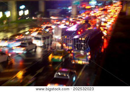 Defocused traffic jam in highway blur traffic jam