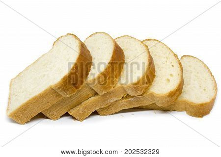 sliced bread loaf white bread on white background