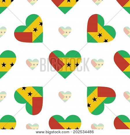 Sao Tome And Principe Flag Patriotic Seamless Pattern. National Flag In The Shape Of Heart. Vector I