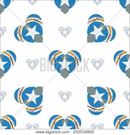 Northern Mariana Islands Flag Patriotic Seamless Pattern. National Flag In The Shape Of Heart. Vecto