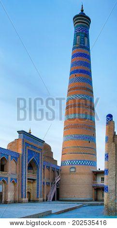 Mosque and a minaret in Khiva Uzbekistan