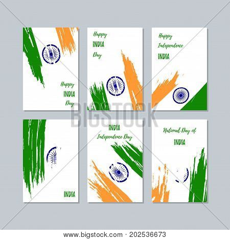India Patriotic Cards For National Day. Expressive Brush Stroke In National Flag Colors On White Car