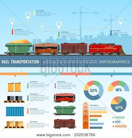 Freight trains wagons flat design presentation. Cargo transportation by train transportation of oil gas toxic chemicals infographics. Cargo train global transport logistics