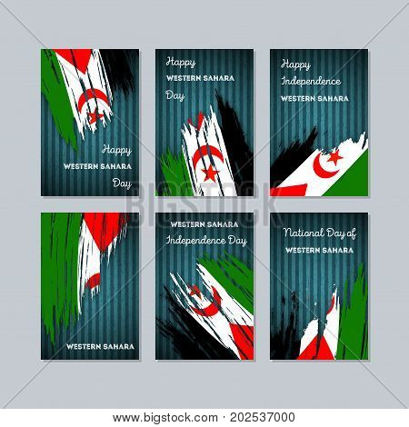 Western Sahara Patriotic Cards For National Day. Expressive Brush Stroke In National Flag Colors On