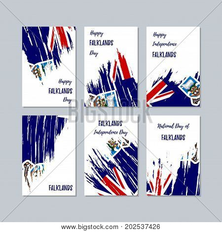 Falklands Patriotic Cards For National Day. Expressive Brush Stroke In National Flag Colors On White