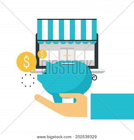 Online store, online shopping, e-shopping, e-commerce, purchasing online, sale, discounts flat line vector illustration design for mobile and web graphics