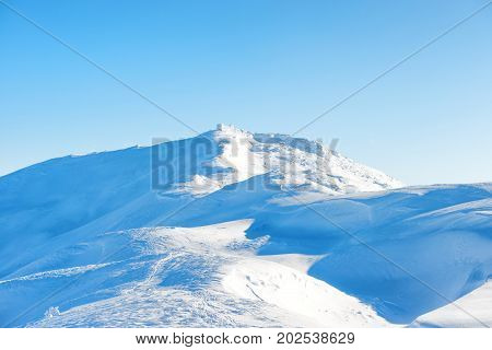 Winter Landscape With Old Castle On Top