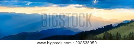 Panorama Of Mountain At Sunset