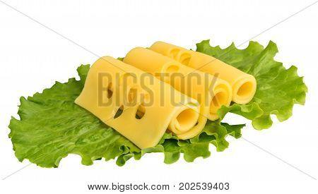 Sliced Maasdam Cheese Isolated