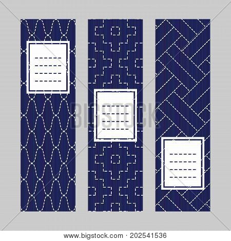 Vertical Banner Set. Sashiko Embroidery Ornament.